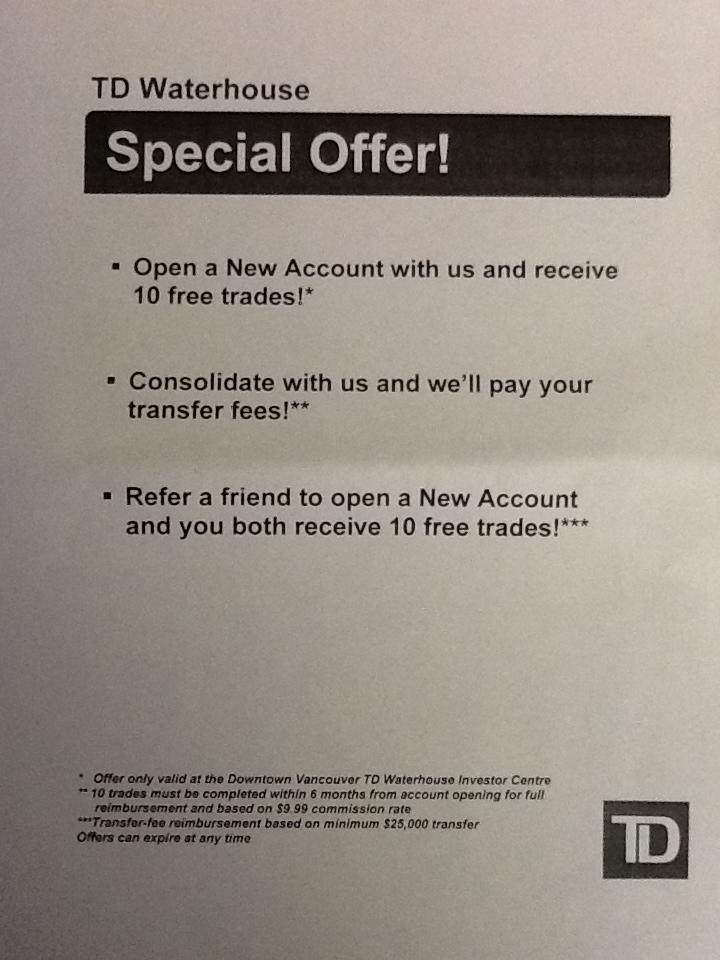 Online brokerage account deals